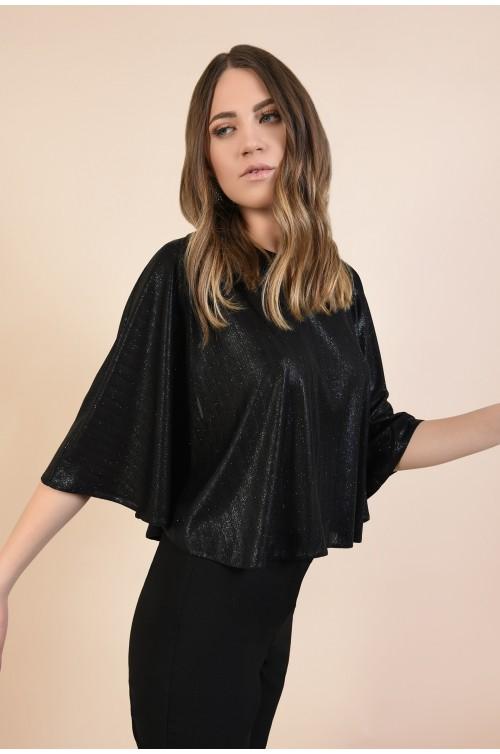 bluza eleganta, tip capa, neagra, cu sclipici, maneci fluture, Poema