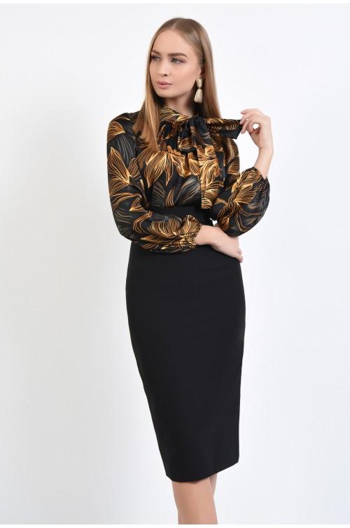 bluza din satin imprimat, eleganta, neagra, maneci lungi, funda