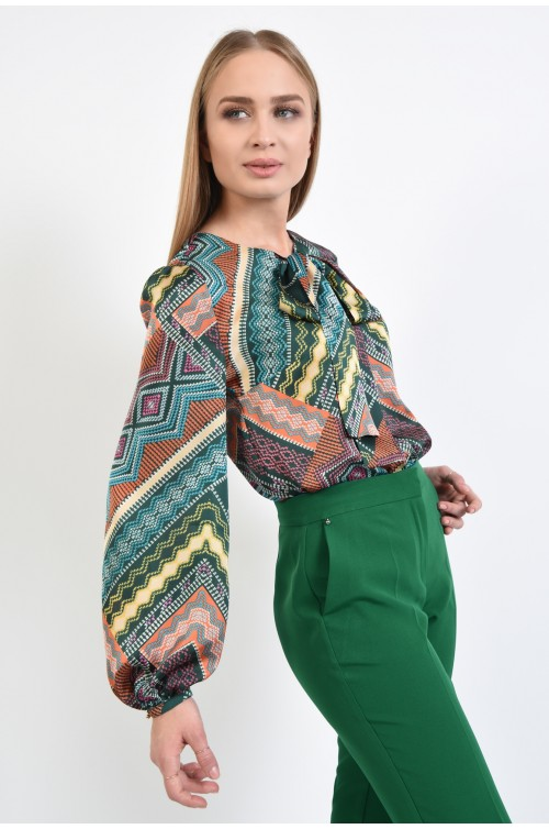 bluza casual, verde, imprimeu multicolor, funda la gat