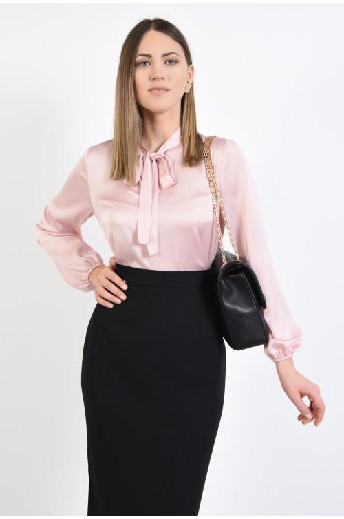 bluza casual, roz, funda la gat, maneci lungi bufante