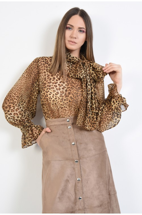 bluza cu imprimeu, voal animal print, maneci bufante, funda laterala
