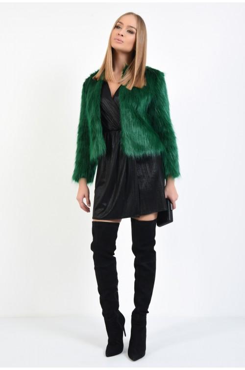 haina din blana eco, verde, croi drept, fara guler, rascroiala rotunda la gat