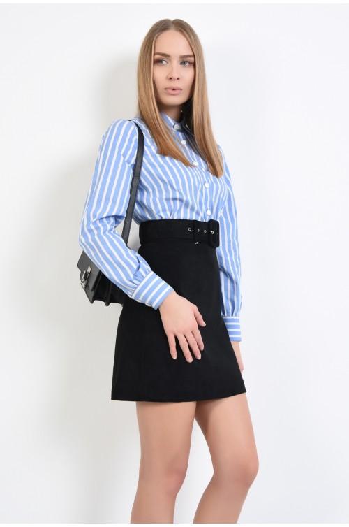 camasa alba cu dungi bleu, croi drept clasic, cu nasturi, cu imprimeu