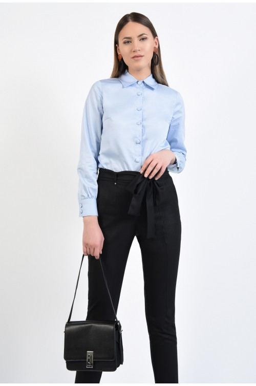 camasa office, bleu, maneci cu mansete, guler ascutit aplicat, nasturi imbracati