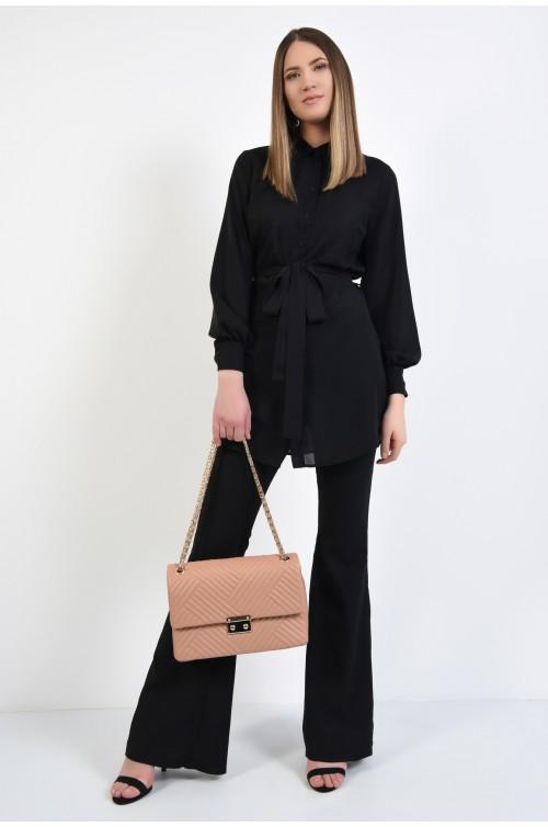 360 - camasa casual, stil tunica, lunga, neagra, cu nasturi, cu cordon