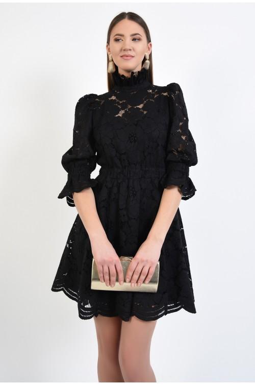 rochie eleganta, neagra, din dantela, cu maneci bufante, guler incretit
