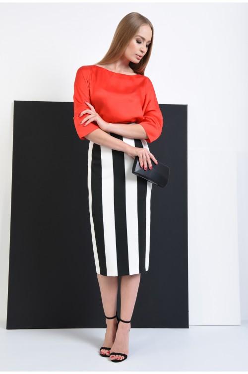 360 - fusta casual cu imprimeu dungi, alb, negru, tesatura stretch, talie cu betelie