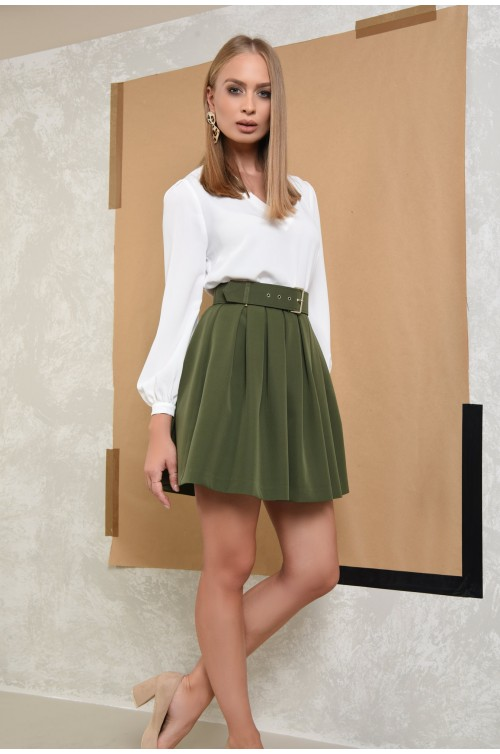 360 - fusta casual, mini, plisata, verde, kaki, cu centura