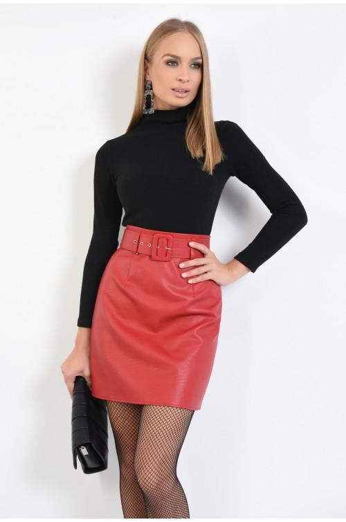 fusta rosie, cu centura, piele eco, fuste online