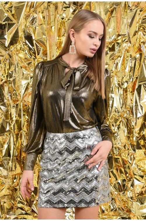 fusta eleganta, paiete argintii, dungi chevron, scurta, croi drept