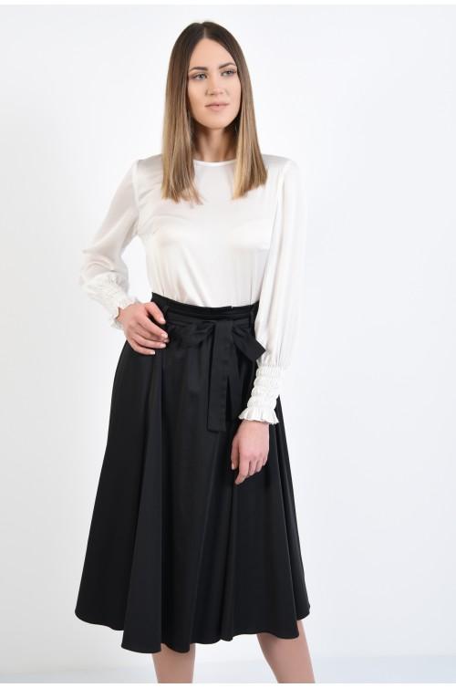 fusta eleganta, midi, clos, talie plisata cu cordon, negru