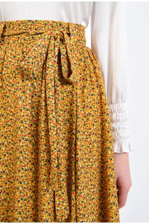 fusta mustar, cu imprimeu, din viscoza, cu cordon asortat