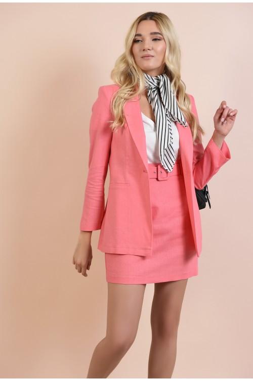 fusta casual, mini, cu talie inalta, din in, roz