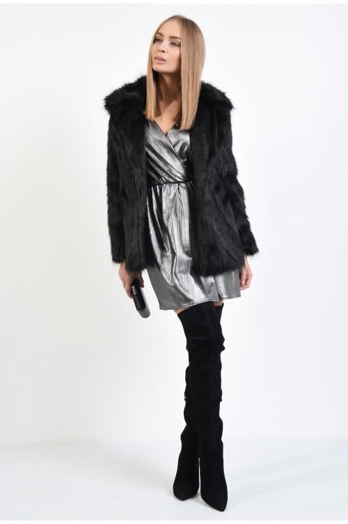 360 - jacheta eleganta, din blana, ecologica, maneci lungi, guler