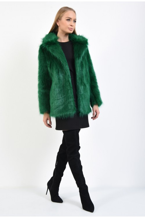 360 - jacheta eleganta, din blana, ecologica, maneci lungi, guler, verde