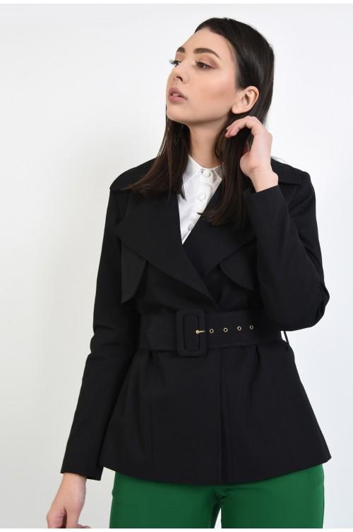 jacheta cu centura, neagra, casual, cu revere