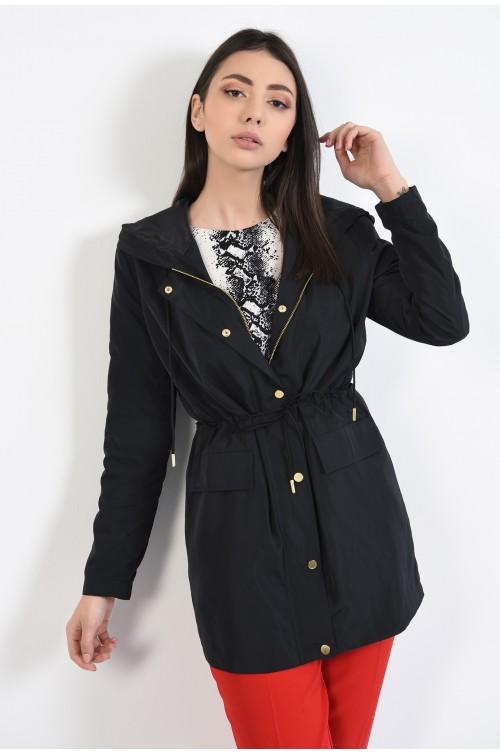 jacheta subtire, de primavara, neagra, cu snur, buzunare cu clapa