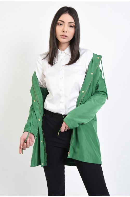 jacheta verde, casual, din fas, cu gluga si capse