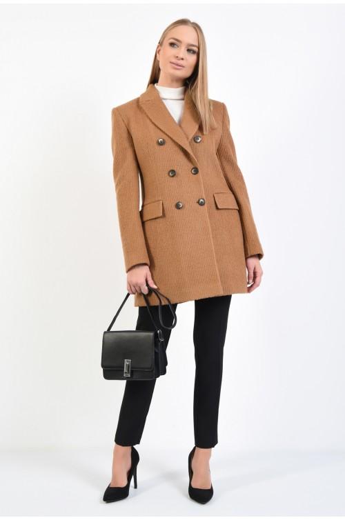 360 - palton maro, lana striata, cu revere, buzunare cu clapa