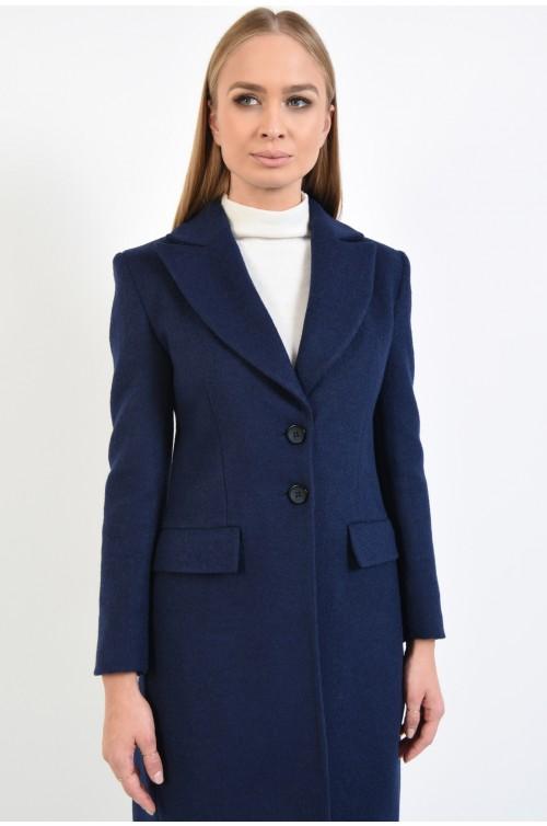palton casual, cambrat, bleumarin, lung, cu doi nasturi, cu revere