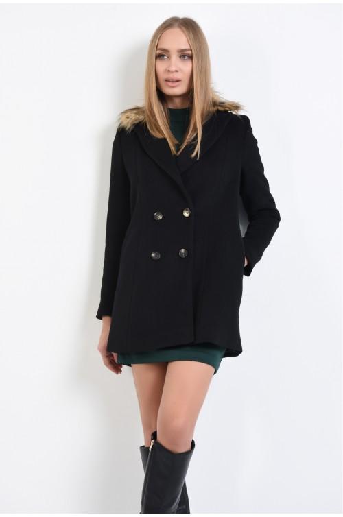 palton negru, scurt, blana ecologica maro, doua randuri de nasturi