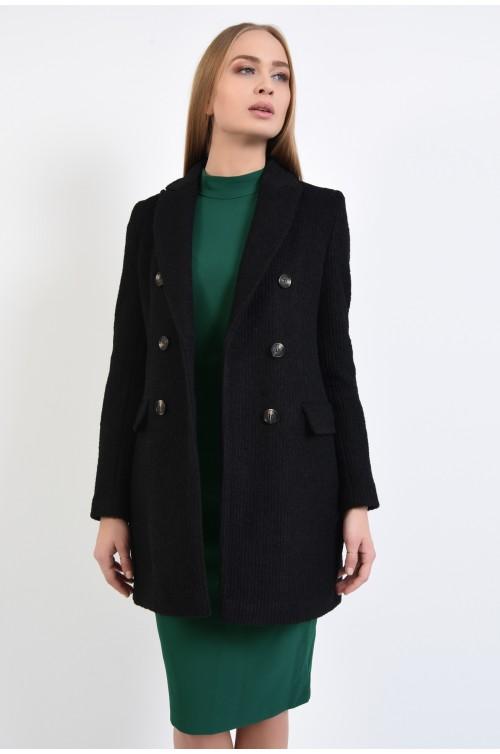 palton negru, croi drept, scurt, doua randuri de nasturi