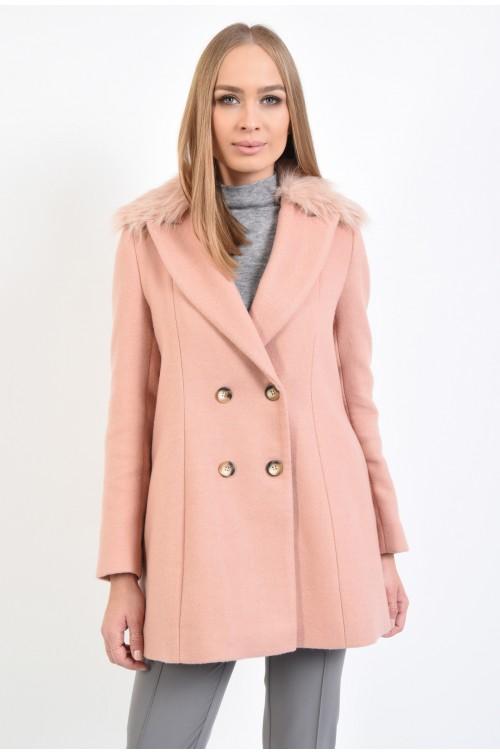 palton cu revere, guler din blana ecologica, doua randuri de nasturi