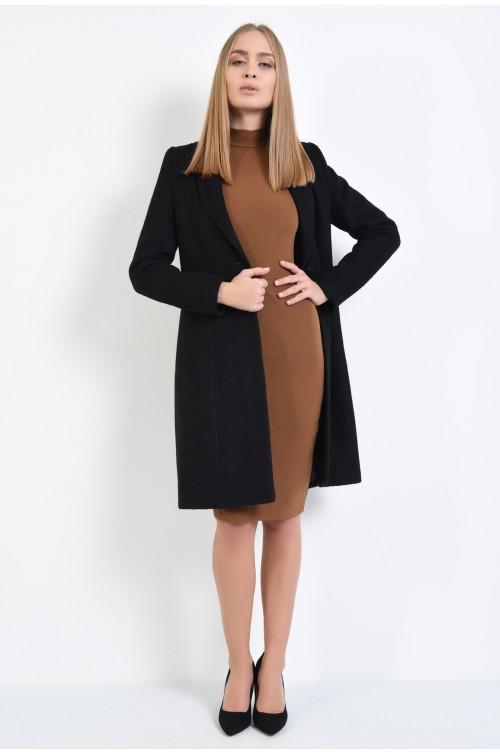 palton negru, casual, lung, croi drept, revere rotunjite