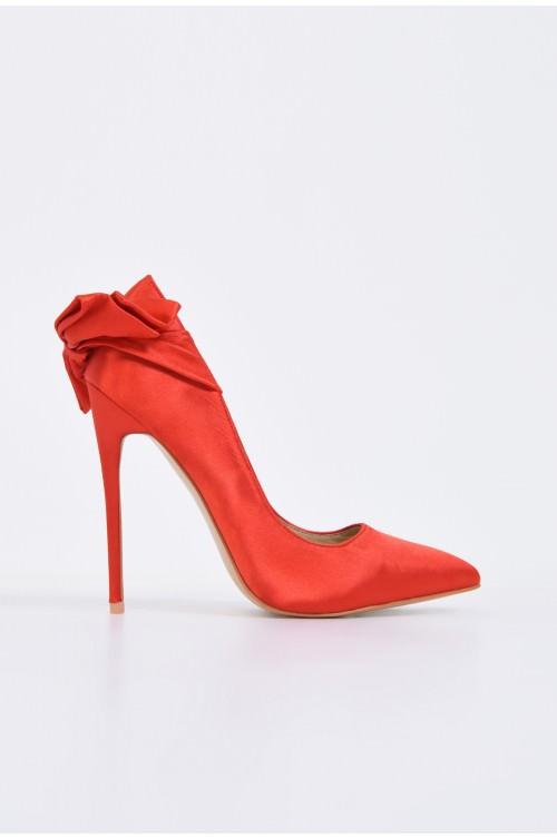 pantofi eleganti, stiletto, rosu, satin