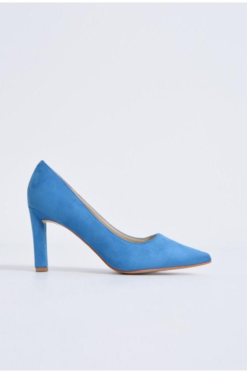 pantofi casual, bleu, toc drept, piele intoarsa