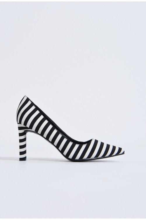 pantofi casual, alb-negru, dungi, toc inalt