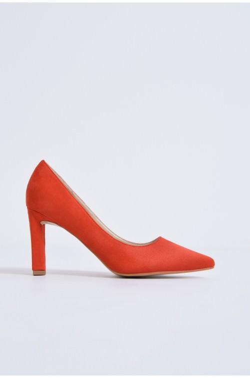 pantofi casual, rosu, toc inalt