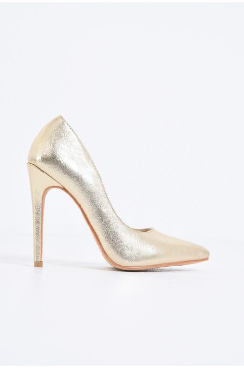 pantofi eleganti, aurii, toc inalt