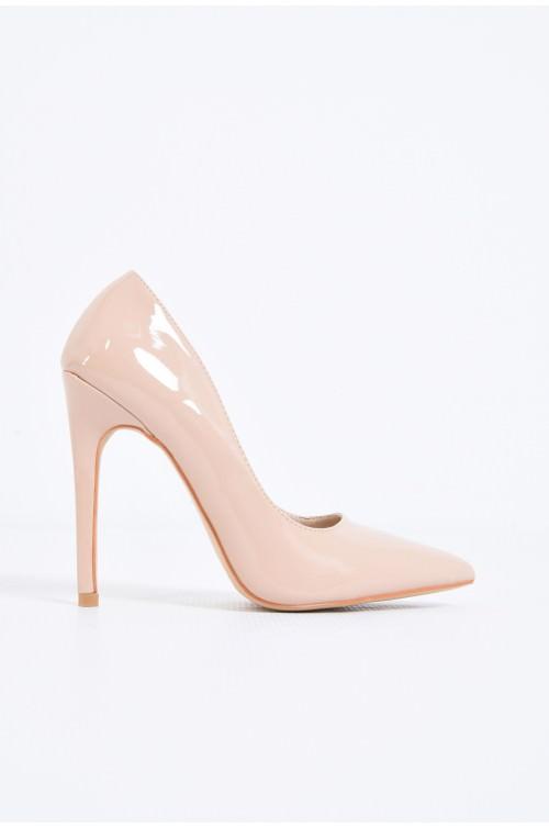 pantofi eleganti, crem, toc inalt, varf ascutit