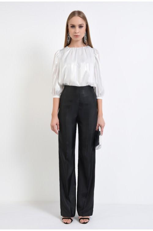 360 - pantaloni eleganti evazati, negru, tesatura tip tafta
