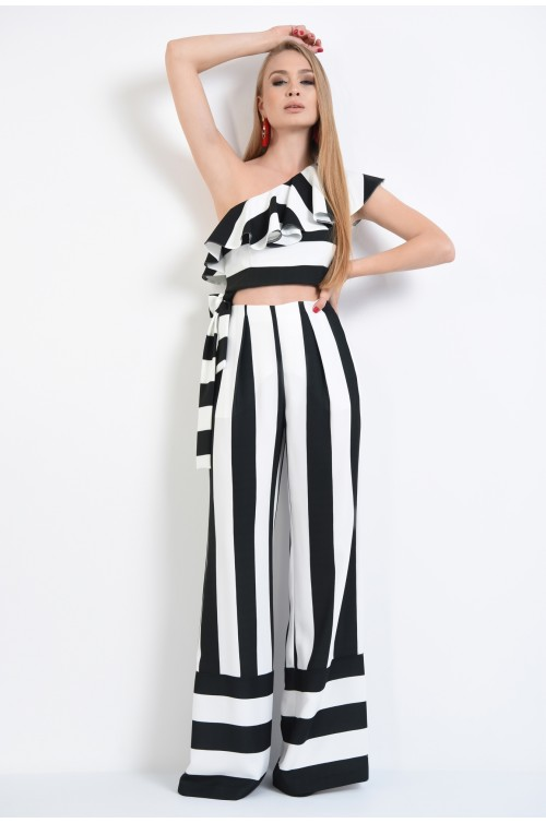 360 - pantaloni eleganti cu dungi, croi lejer, alb-negru