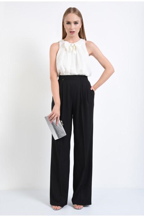 360 - pantaloni eleganti largi, negru, pliuri, pantaloni de ocazie