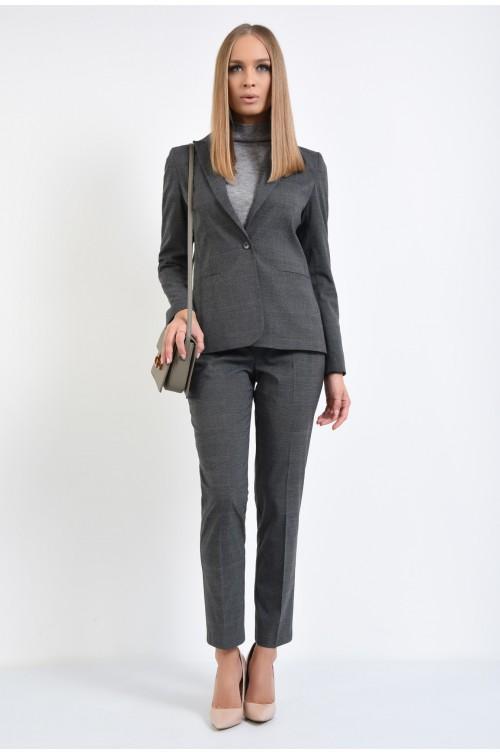 360 - pantaloni gri, carouri, conici, cu talie medie