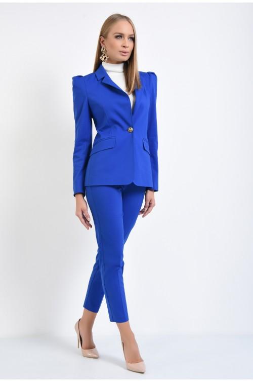 360 - pantaloni conici, talie medie, albastru royal, buzunare