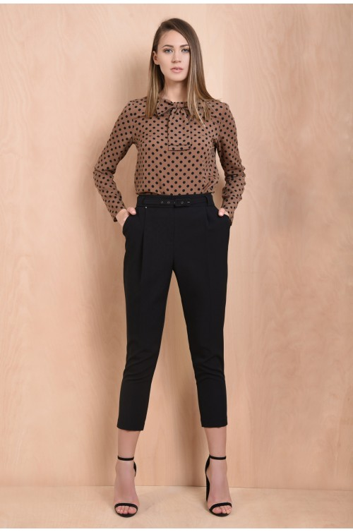 pantaloni casual, negri, conici, talie inalta, cu curea