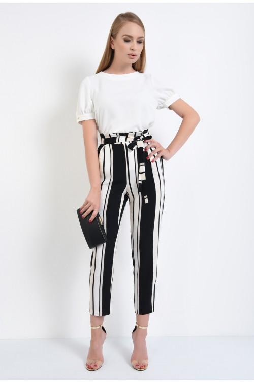 360 - pantaloni eleganti, croi conic, lejeri, tesatura fluida, alb-negru, pantaloni de vara