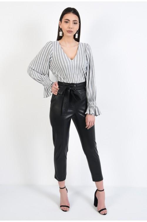 pantaloni negri, din piele ecologica, conici, cu cordon