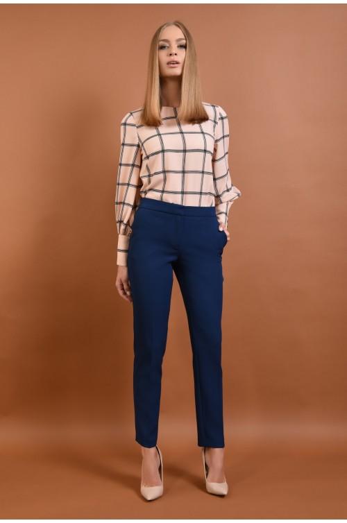 360 - Pantaloni conici, de birou, pantaloni online, albastru, croi tigareta