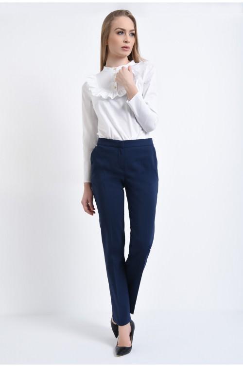 360 - Pantaloni clasici, la dunga, cu buzunare
