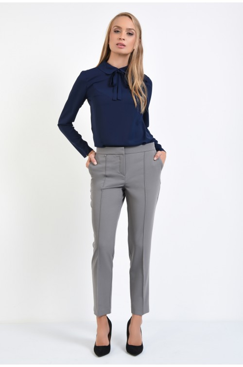 360 - pantaloni gri, de zi, conici, la dunga, pantaloni online