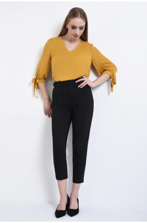360 - Pantaloni la dunga, centura material textil croi conic