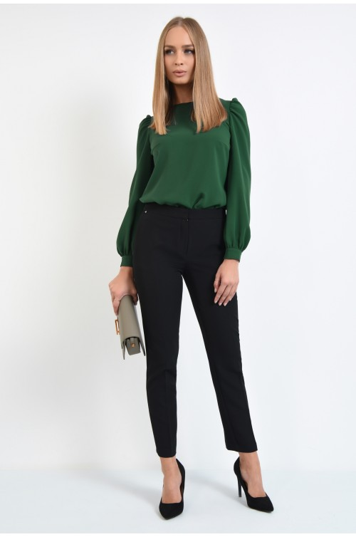 360 - pantaloni casual, conici, negri, talie medie