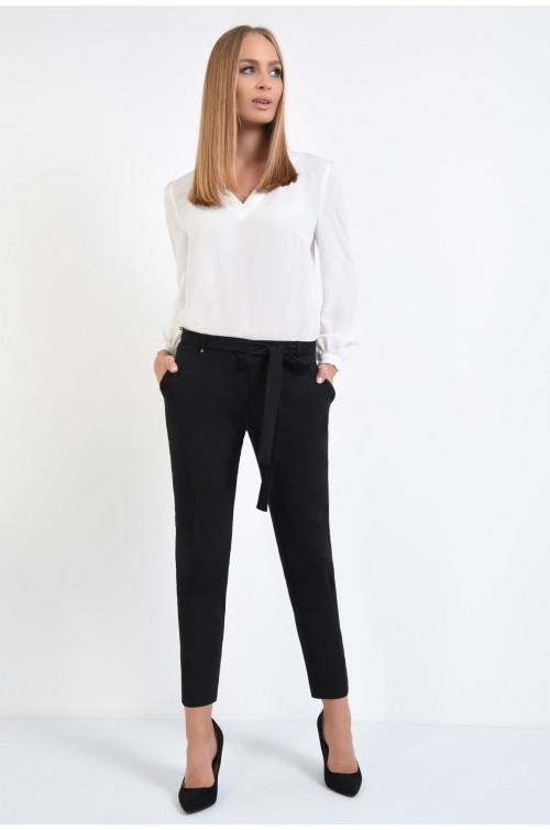 360 - pantaloni negri, la dunga, croi conic, cordon, funda