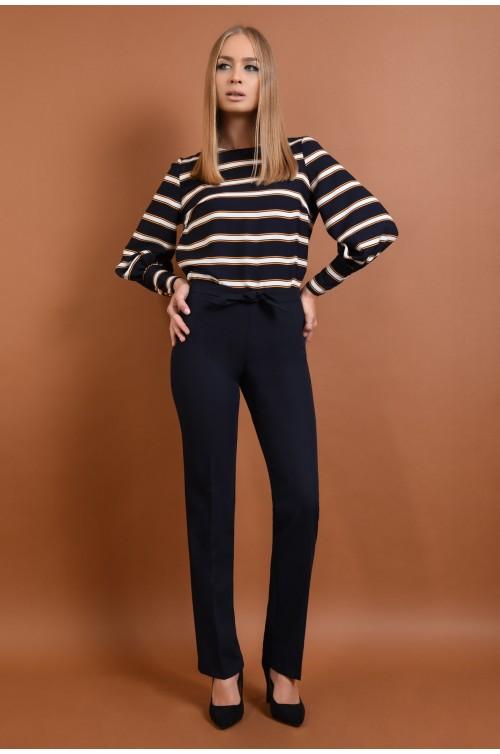 360 - pantaloni pana, bleumarin, croi clasic, funda la talie
