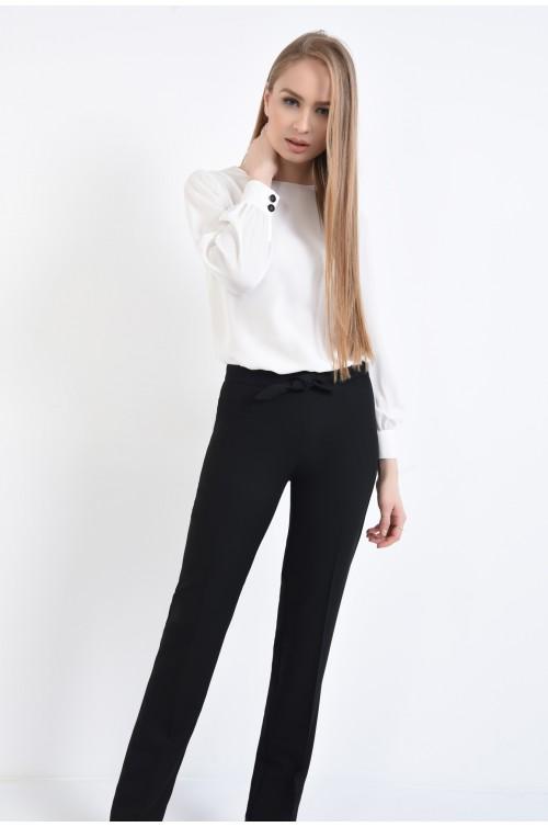 pantaloni casual, negru, talie medie, betelie cu funda